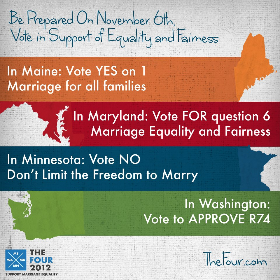 Maine: vote YES on 1.  In Maryland, vote FOR question 6.  In Minnesota, vote NO.  In Washington, vote to APPROVE R74.