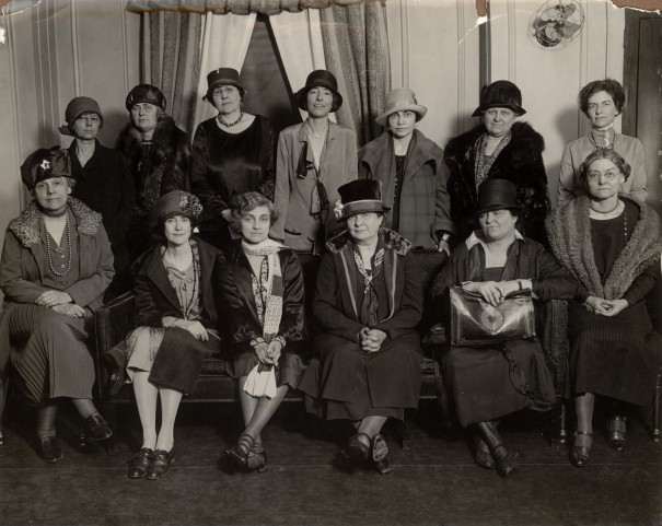 The Board of Directors of the National League of Women Voters at their convention in Chicago in February of this year. At the far right of the lower row is Carrie Chapman Catt, with Grace Wilbur Trout in the center and Maud Wood Park on the left. via The Leage of Women Voters Library