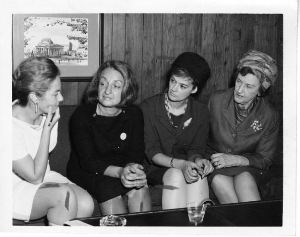 Friedan (second from the left) at an early NOW meeting. via Wikimedia.