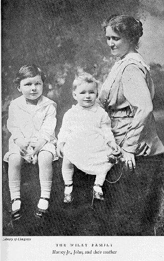 Anna Kelton Wiley and her sons, Harvey, Jr., and John.