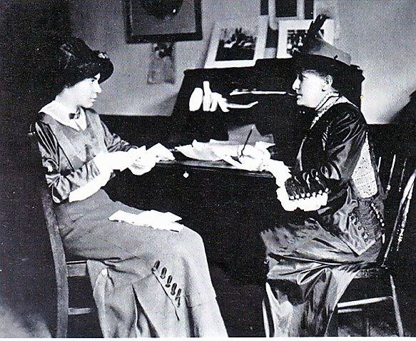 Helen H. Gardener, on the right, meets with Alice Paul.