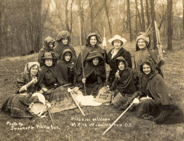 The hikers, with Elizabeth Freeman at the far left of the picture, Ida Craft second from the left, and Rosalie Jones in the middle of the front row with a hiking staff in her hand.