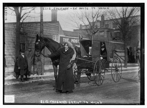 Lausanne pulling Elizabeth Freeman's literature wagon, Freeman holding the reins.