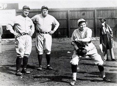 From left: Gehrig, Ruth and Mitchell, earlier today as she was warming up.