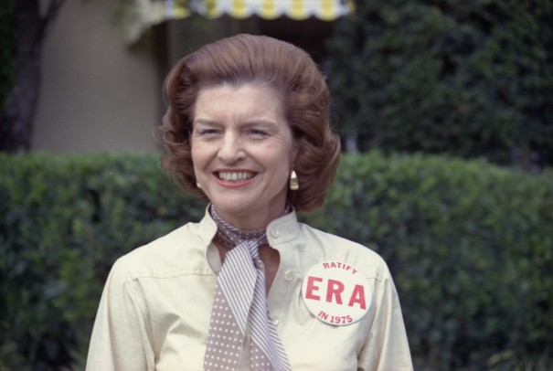 "First Lady Betty Ford wearing a large ""Ratify E.R.A. in 1975"" button on February 26th as an honored guest of the Jackie Gleason Inverrary Classic Celebrities Golf Tournament in Hollywood, Florida"