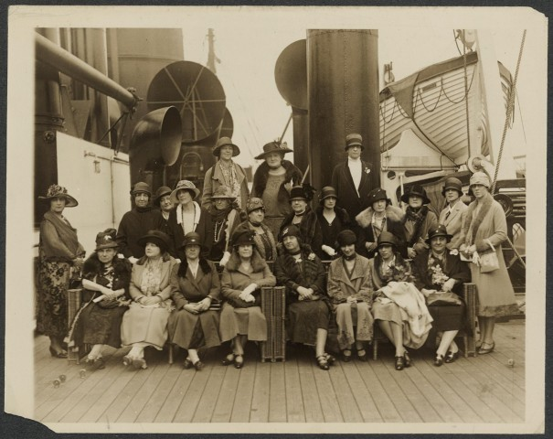 The National Woman's Party delegation on its way to Paris aboard the Tuscania.