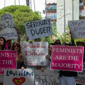 PHOTOS: Feminists Rally Across from the Beverly Hills Hotel to #StopTheSultan!