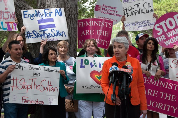 Eleanor Smeal, FMF President, speaks at the #StopTheSultan rally in front of supporters. Photo via Jillian Ellis.