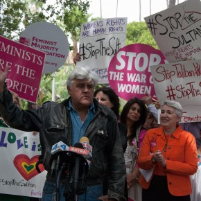 WATCH: Jay Leno, Frances Fisher, Ellie Smeal, and Others Speak Out to #StopTheSultan in Beverly Hills!