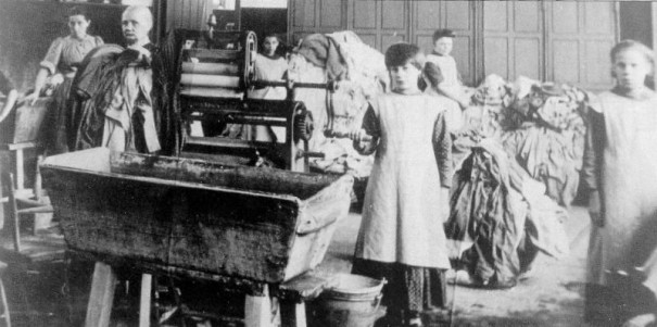 Magdalene Asylums operated from the 18th to 20th centuries across Europe and North America. This photo, via Wikimedia, shows unidentified laborers at a Magdalene Laundry in Ireland, where they operated until 1996.