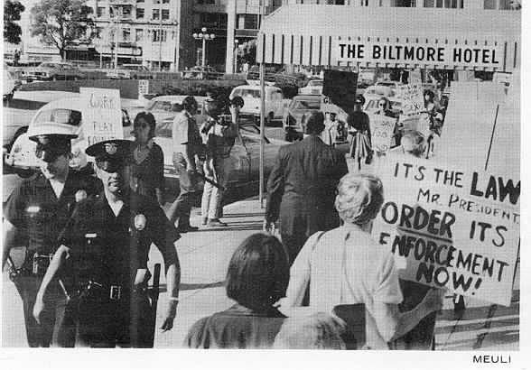 Today's protest outside the Biltmore Hotel in Los Angeles. The picture was taken by Judith Meuli of Los Angeles N.O.W.