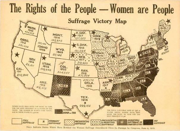 "A ""Suffrage Victory Map"" put out in December of last year (1919) showing States where women had won full suffrage, partial suffrage and had no voting rights. States with stars had ratified the suffrage amendment by that time. The numbers seem to be how many women are eligible to register to vote in that State."