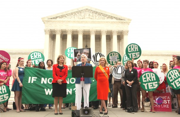 Eleanor Smeal, President of the Feminist Majority, (front center) addresses the crowd at the United Call to Action to Pass the Equal Rights Amendment.  (Also pictured: Rep. Jackie Speier (D-CA), front left; Rep. Carolyn Maloney (D-NY), front-right)