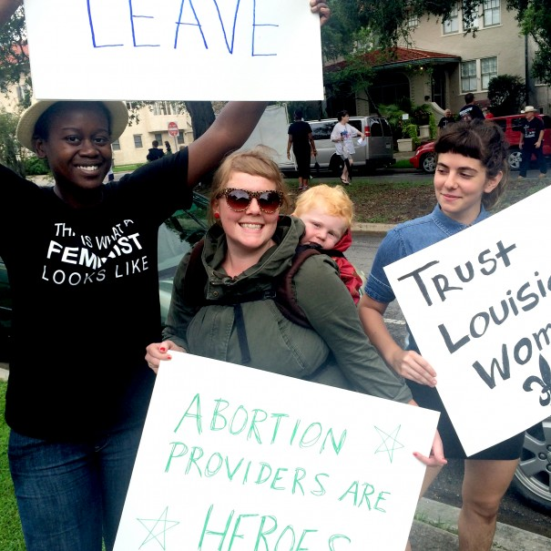 Edwith Theogene, Feminist Majority Foundation National Clinic Access Project Organizer (left), pictured with pro-choice volunteers this past weekend.