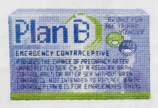 """The series """"In Control"""" depicts modern forms of contraception using the traditional art medium of embroidery.  By Katrina Makjut"""