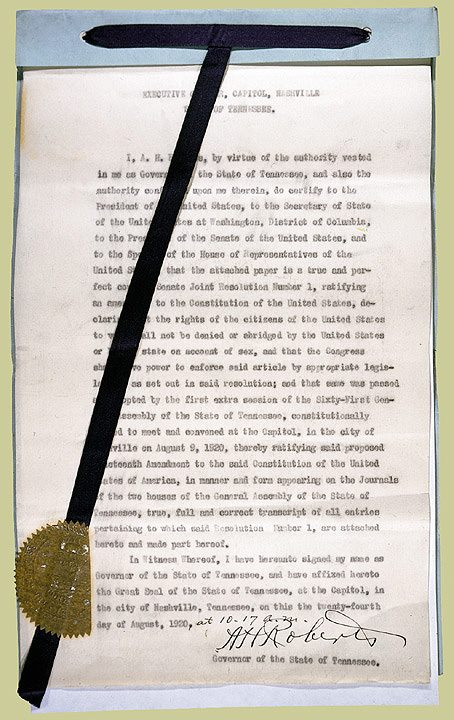 Tennessee's certificate of ratification, now on a train from Nashville to Washington, D.C.