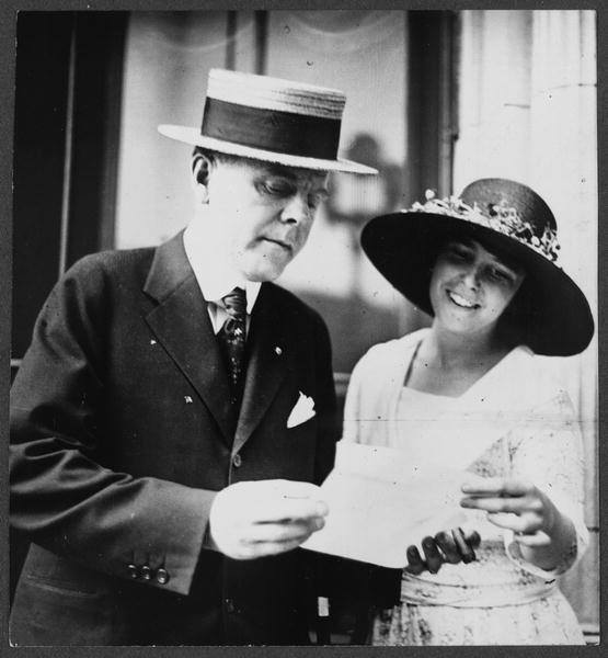 Anita Pollitzer, of the National Woman's Party, checks the latest tally of vote pledges with W.J. Jameson, head of the National Finance Committee of the Democratic Party. He is one of many high-level party officials here in Nashville to lobby their fellow Democrats to vote for ratification.