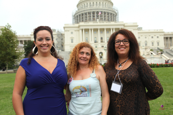 From left, Kimberly Inez McGuire, Director of Public Affairs for the National Latina Institute for Reproductive Health (NLIRH); Alaina LaTourette, Vice President & Co-Chair, We Are Woman; Emmy Rivera, Rally MC, writer, comedian.