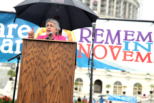 Feminist Majority President and Keynote Speaker, Eleanor Smeal, addresses the crowd.
