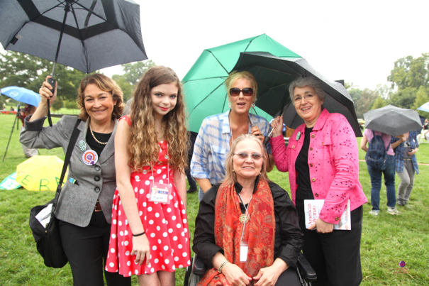 From left to right: Terry O'Neill, President of the National Organization for Women; Madison Kimrey, women's rights activist, student;  Kimberley A. Johnson, author (standing); Diana Danis, Co-Founder, Changing Governmental Gender Paradigms.