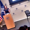 Actor and Founder of the Geena Davis Institute on Gender in Media, Geena Davis, addresses the crowd at the 2nd Annual Global Symposium on Gender in Media at the United States Institute for Peace in Washington, DC.