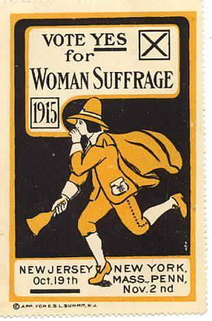 A stamp recently printed up by suffrage supporters which can be put on an envelope along with the standard two cents postage. This way, people can promote the cause on the outside of the envelope as well as through the letter or flyer inside.