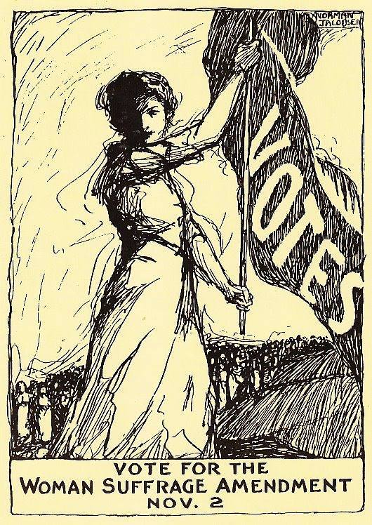 """Campaign poster by Norman Jacobsen celebrating the courage and dedication of suffragists, and in support of a """"Yes"""" vote in the upcoming referenda."""