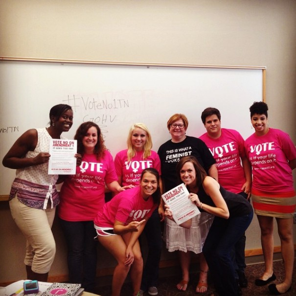 FMF's National Campus Organizers Edwith and Ashleigh with students from Austin Peay University voting No on Amendment 1