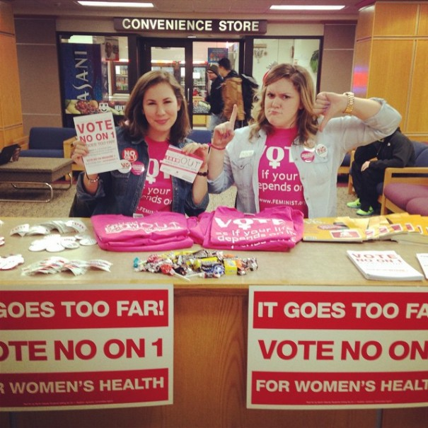 Alyssa and Taylor, two FMF National Campus Organizers, in the UND Memorial Union.