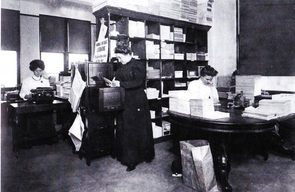 The busy, but neat, shipping room of the New York Woman Suffrage Association, where vast amounts of literature have been sent out Statewide during this campaign.