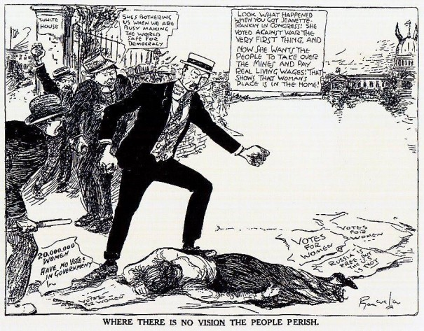 Vintage political cartoon from the Silent Sentinel riots, in which none of their attackers were arrested.