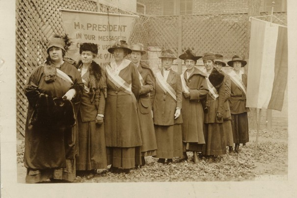 Some of those who were arrested in day before yesterday's picketing. Left to right, they are Catherine Martinette of Eagle Grove, Iowa; Elizabeth Kent of Kentfield, California; Mary Bartlett Dixon of Easton, Maryland; Mrs. C.T. Robertson of Salt Lake City, Utah; Cora Week of New York City; Amy Juengling of Buffalo, New York; Hattie Kruger, also of Buffalo, New York; Belle Sheinberg of New York City and Julia Emory of Baltimore, Maryland.