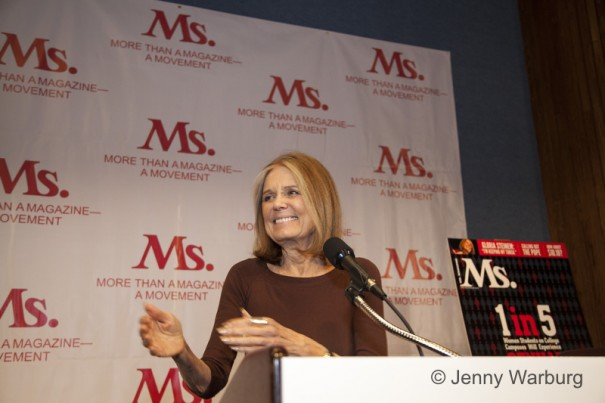 Gloria Steinem addressing the crowd at the 2014 Ms. Luncheon, credit: Jenny Warburg