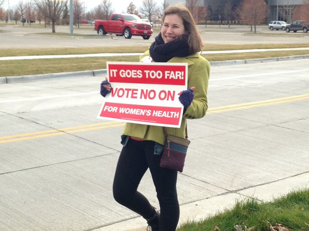 FMF National Campus Organizer Alyssa outside a polling place in North Dakota.