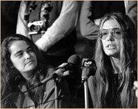 Kate Millett (left) and Gloria Steinem at today's press conference.