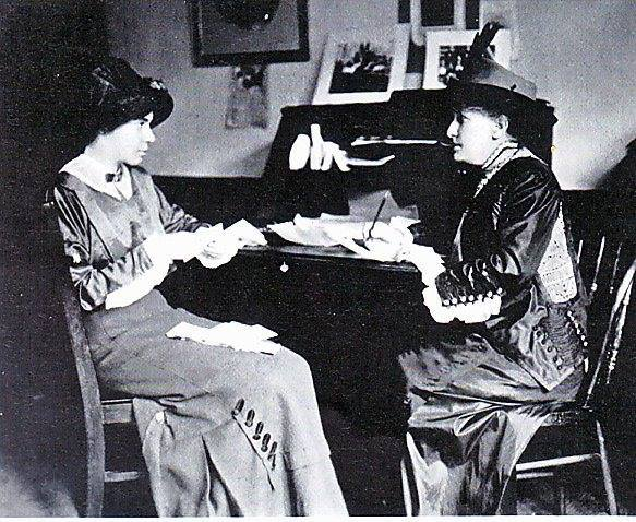 Helen H. Gardener, on the right, meeting with Alice Paul
