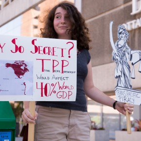 Activists Demonstrate Outside Trans-Pacific Partnership Negotiations