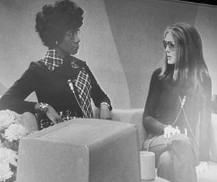 """Rep. Shirley Chisholm (D-NY) and Gloria Steinem on WLS-TV's """"Kennedy and Company"""" this morning."""