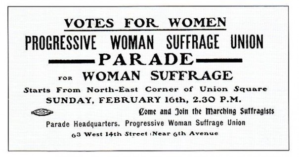 An invitation being given out for next week's suffrage parade.