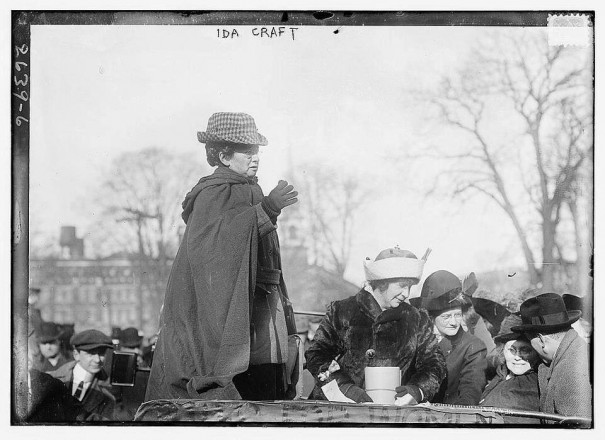 Colonel Ida Craft, doing what she enjoys most, speaking to a crowd about woman suffrage.