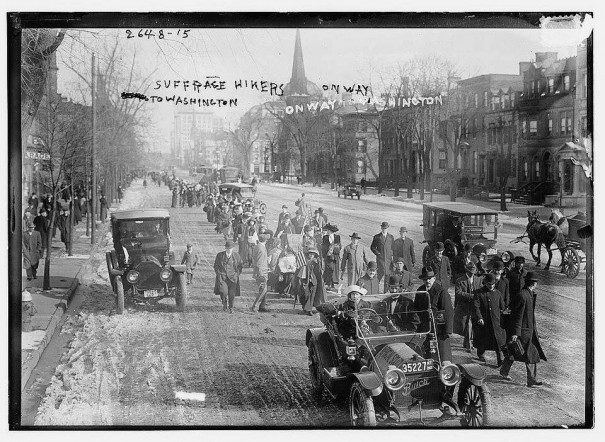 The suffrage hikers marching along Broad Street, just north of West Kinney Street in Newark, New Jersey, about 10:00 this morning.