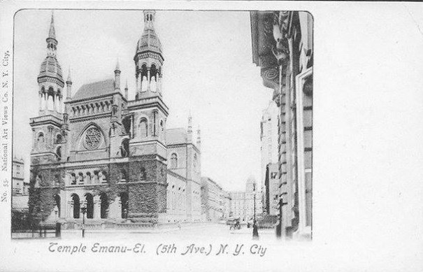Temple Emanu-El, built in 1868 and where Rabbi Silverman has served since 1888.