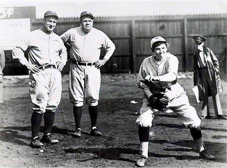 Gehrig, Ruth and Mitchell, earlier today as she was warming up.