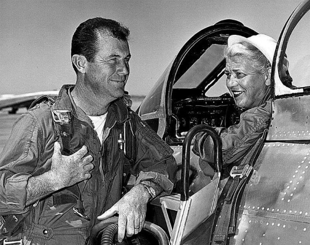 Cochran talking to test pilot Major Chuck Yeager earlier today.
