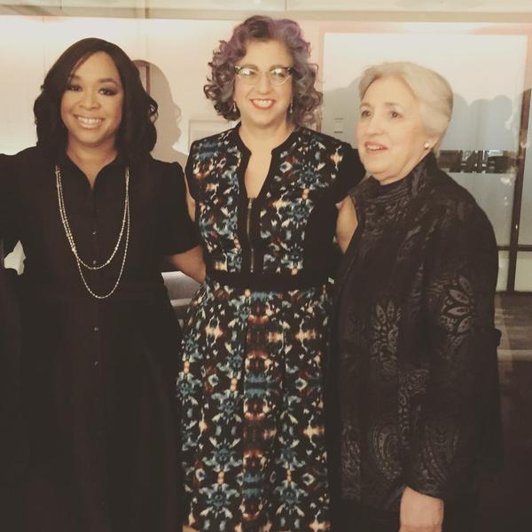 From Left: Shonda Rhimes, Jenji Kohan, and FMF President and Founder Eleanor Smeal at the Global Women's Rights Awards.