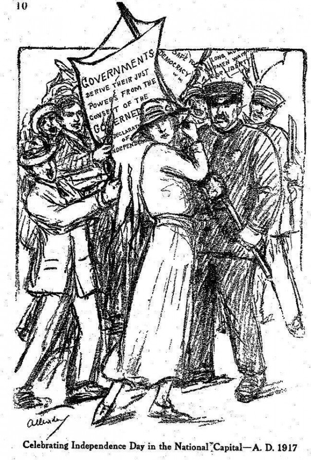 "Cartoonist Nina Allender's view of the July 4th demonstration as drawn for the National Woman's Party's official publication, ""The Suffragist."""