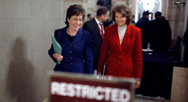 GOP Senators Murkowski and Collins join Senate Dems to Block Global Gag Rule. Image via  Getty Images for Politico