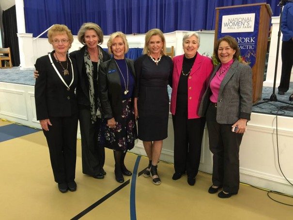 From left to right: Janet Hughes, Katherine Spillar, Lilly Ledbetter, Congresswoman Carolyn Maloney, Eleanor Smeal, and Terry O'Neill.